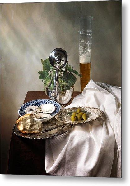 Still Life With Pass Glass-silverware-oysters And Olives Metal Print