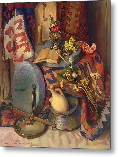 Still Life With Special Stones For Getting Wheat Flour Metal Print by Meruzhan Khachatryan