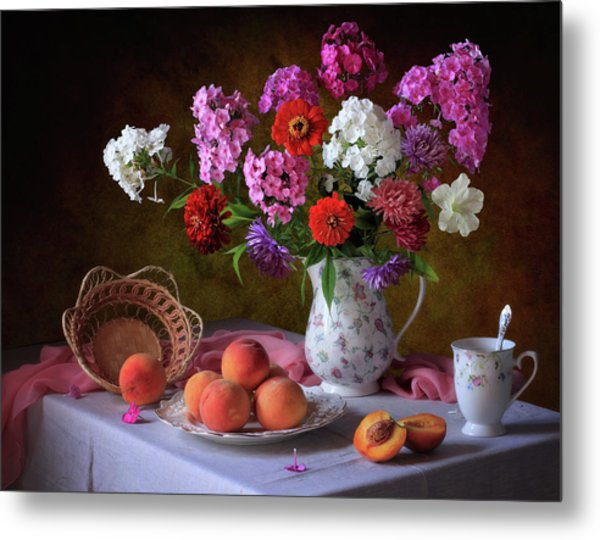 Still Life With Summer Bouquet And Peaches Metal Print