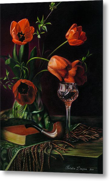 Still Life With Tulips - Drawing Metal Print