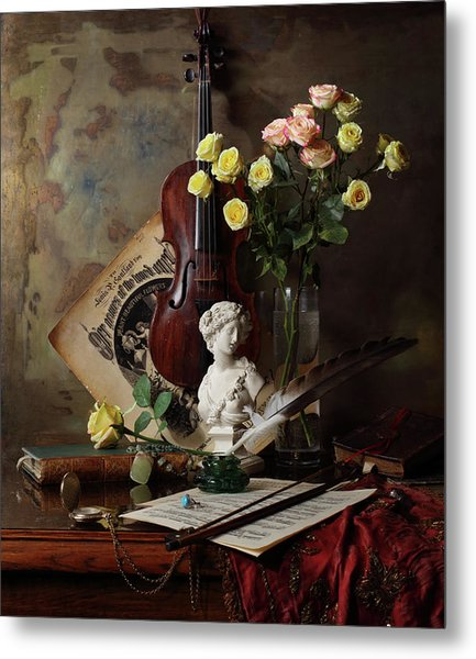 Still Life With Violin And Bust Metal Print by Andrey Morozov