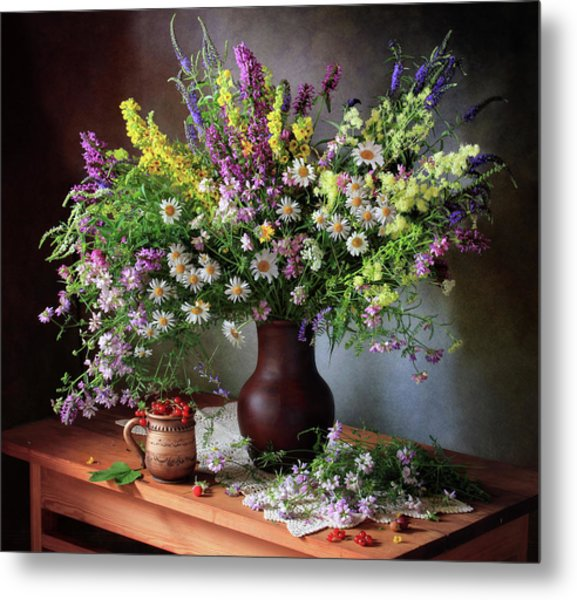 Still Life With Wildflowers And Berries Metal Print