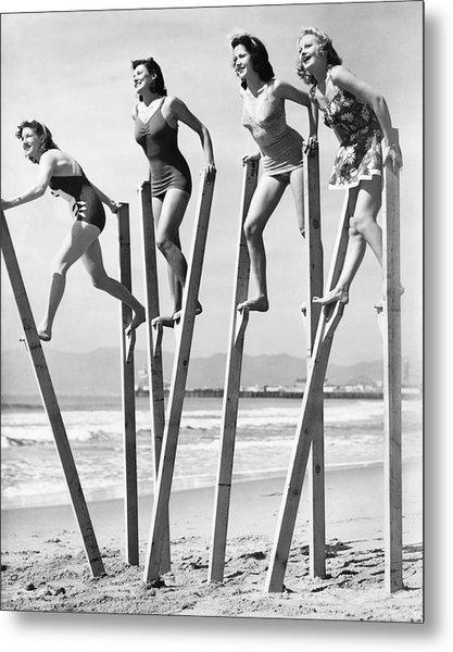 Stilt Walking On The Beach Metal Print