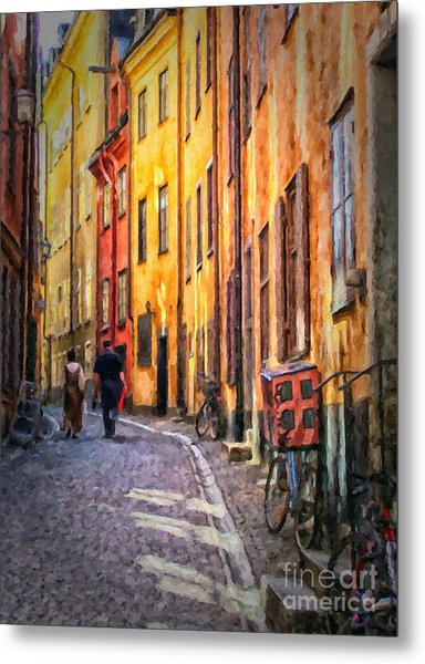 Stockholm Gamla Stan Painting Metal Print