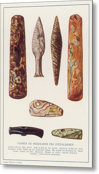 Stone Age Artifacts From Norway - Tools Metal Print by Mary Evans Picture Library