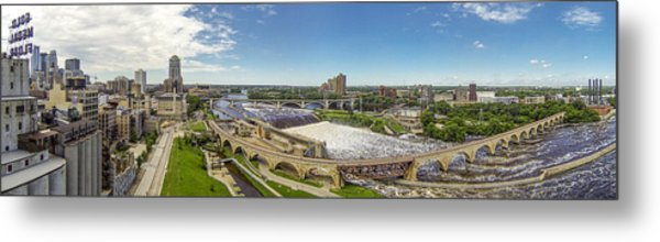 Stone Arch Bridge From The Air Metal Print