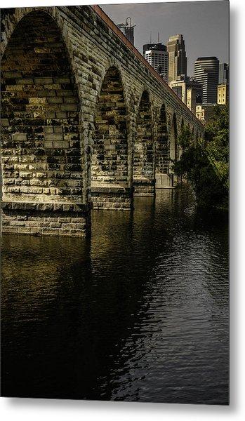 Stone Arch Bridge With Minneapolis Skyline Metal Print