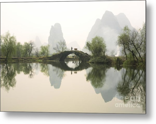 Stone Bridge In Guangxi Province China Metal Print
