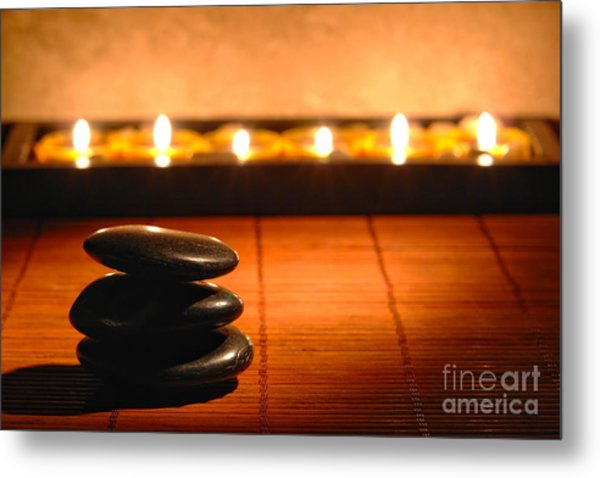 Metal Print featuring the photograph Stone Cairn And Candles For Quiet Meditation by Olivier Le Queinec