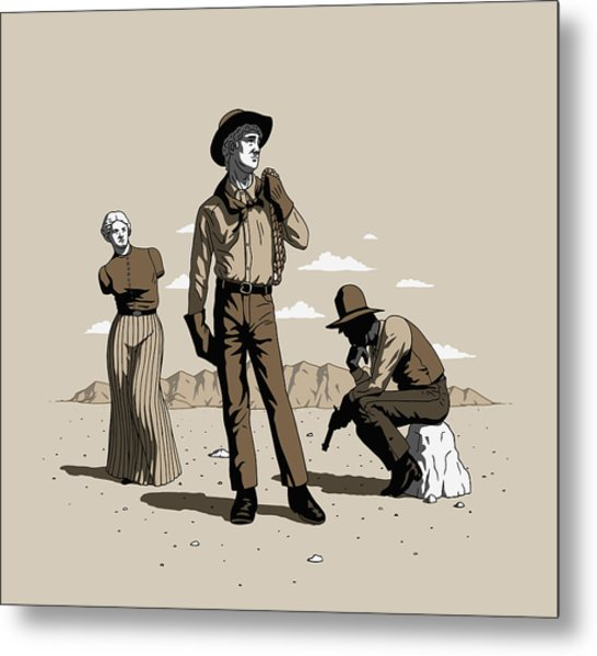 Metal Print featuring the digital art Stone-cold Western by Ben Hartnett
