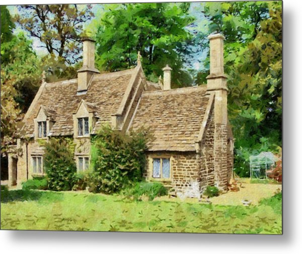 Metal Print featuring the drawing Stone Cottage by Paul Gulliver