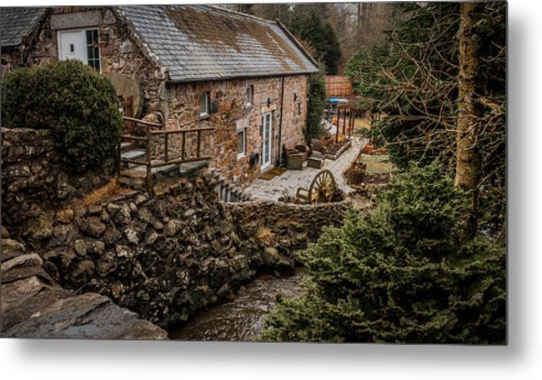 Stone Home By The Stream Metal Print