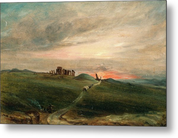 Stonehenge At Sunset, After John Constable Metal Print by Litz Collection