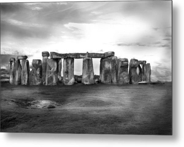 Stonehenge In The Rain Metal Print