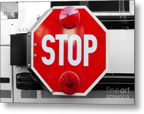 Stop Bw Red Sign Metal Print