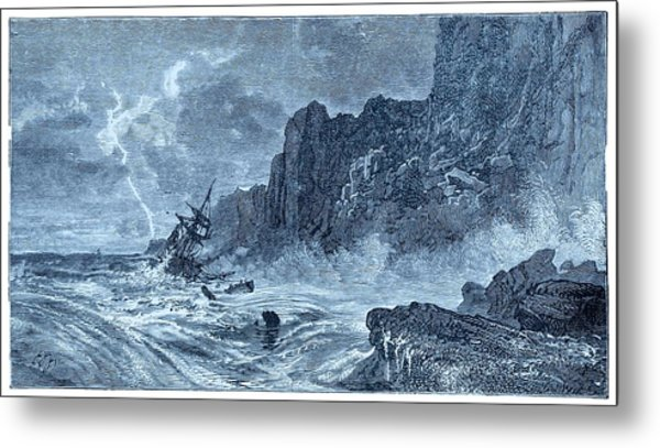 Storm At Sea And Shipwreck Metal Print