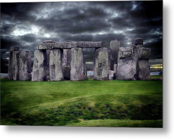 Storm Clouds Over Stonehenge Metal Print