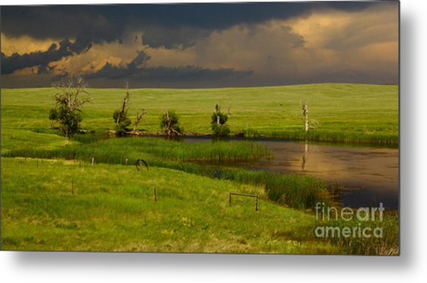 Storm Crossing Prairie 1 Metal Print