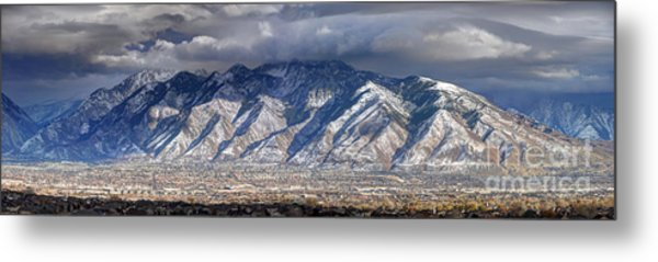 Storm Front Passes Over The Wasatch Mountains And Salt Lake Valley - Utah Metal Print