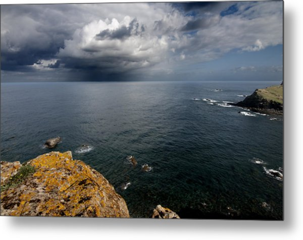 A Mediterranean Sea View From Sa Mesquida In Minorca Island - Storm Is Coming To Island Shore Metal Print