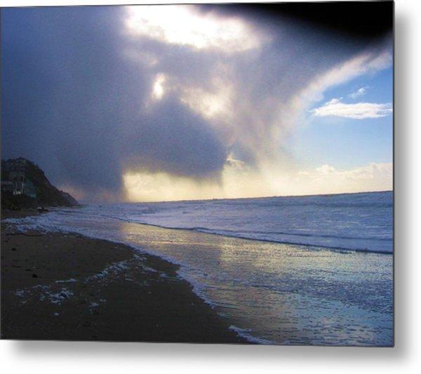 Storm On Beach Metal Print