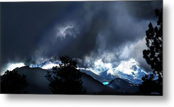 Storm On Long's Peak Metal Print by Ric Soulen