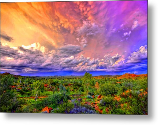 Storm On The Telegraph Metal Print