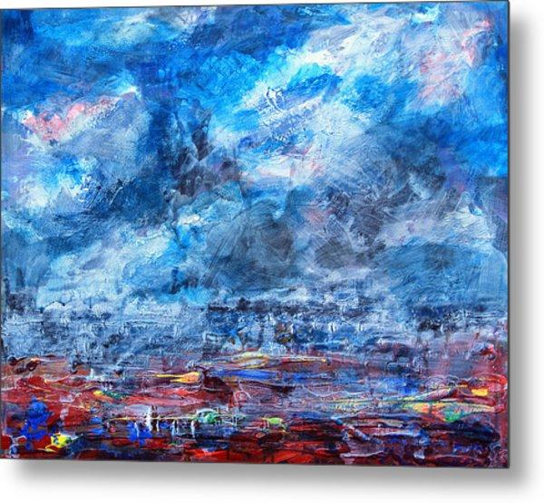 Storm Over Flower Fields Metal Print by Walter Fahmy