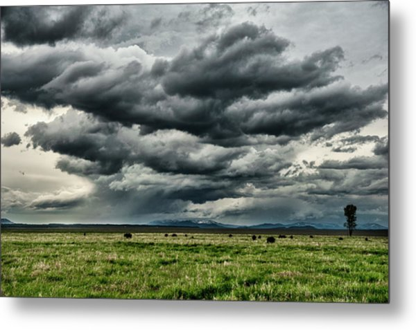 Storm Over Jackson Hole Valley Metal Print by Jeff R Clow