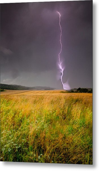 Storm Over The Wheat Fields Metal Print