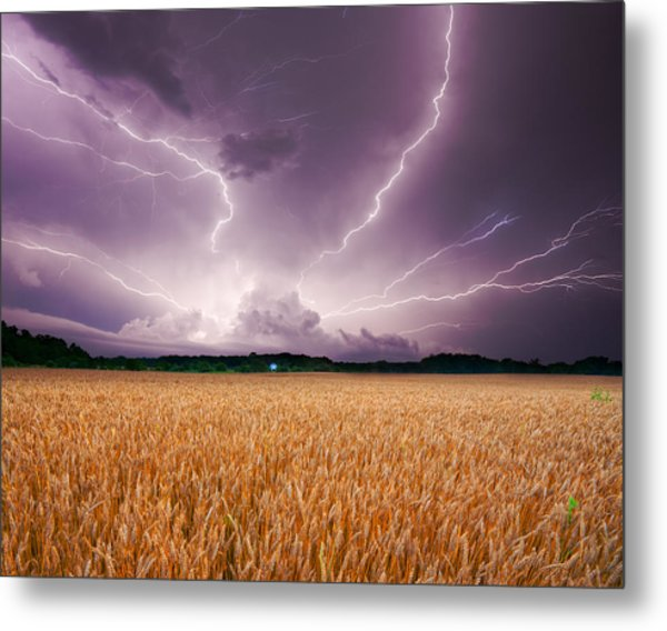 Storm Over Wheat Metal Print