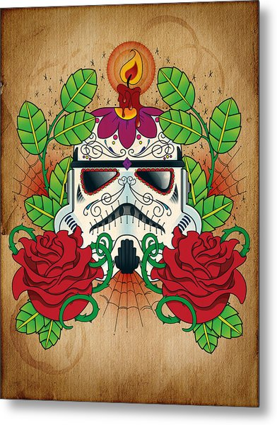 Storm Trooper Sugar Skull Metal Print