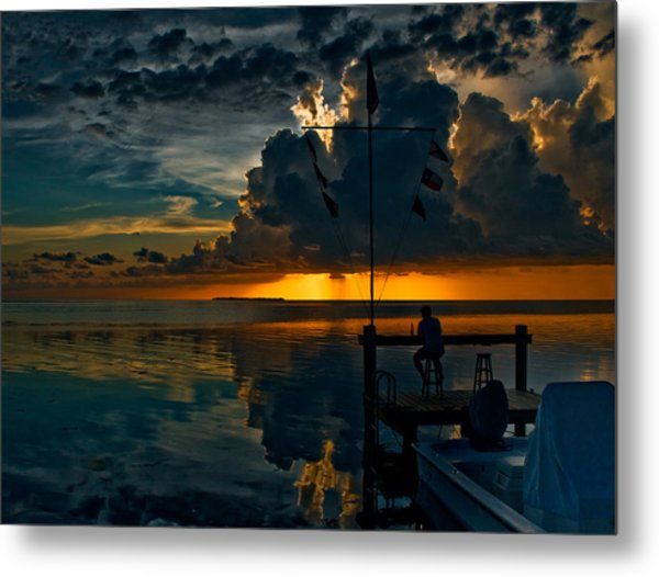 Sunset Tropical Storm And Watcher In Florida Keys Metal Print