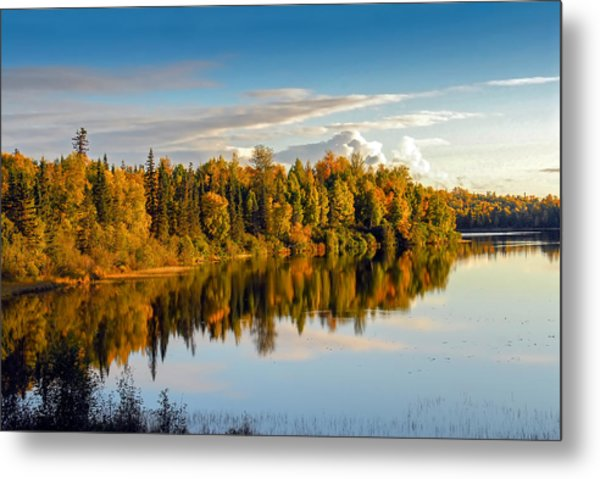Stormy Lake Alaska In Autumn Metal Print