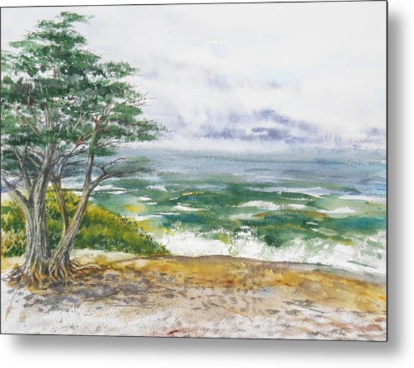 Stormy Morning At Carmel By The Sea California Metal Print