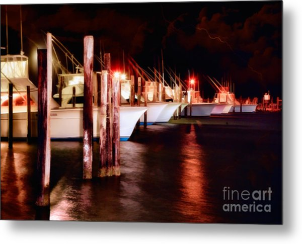 Stormy Night In The Marina - Outer Banks Metal Print by Dan Carmichael