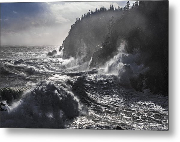 Stormy Seas At Gulliver's Hole Metal Print