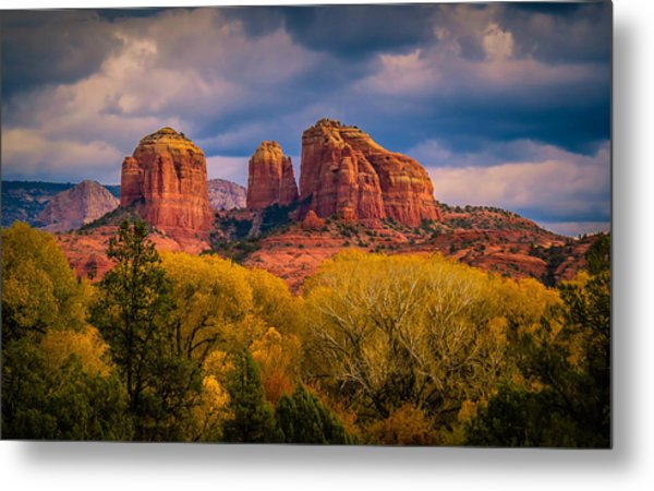 Stormy Skies Over Cathedral Rock Metal Print