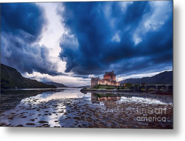Stormy Skies Over Eilean Donan Castle Metal Print