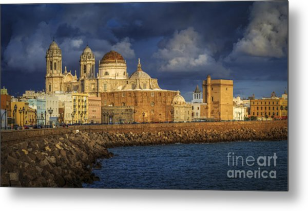 Stormy Skies Over The Cathedral Cadiz Spain Metal Print