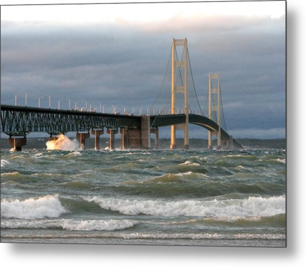 Stormy Straits Of Mackinac Metal Print