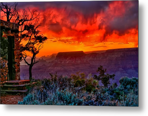 Stormy Sunset At The Watchtower Metal Print