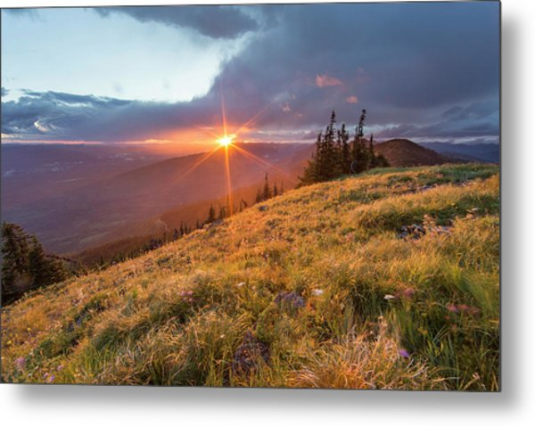 Stormy Sunset Over The Whitefish Range Metal Print
