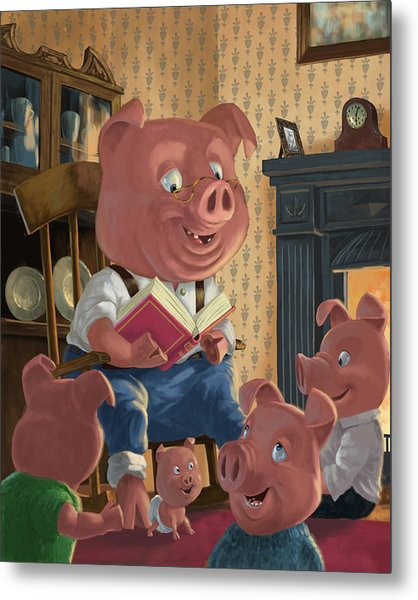 Story Telling Pig With Family Metal Print