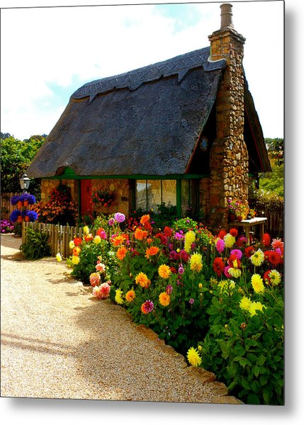 Storybook Cottage By The Sea Metal Print