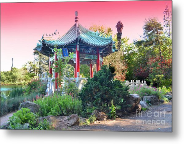 Stow Lake Pagoda In Golden Gate Park In San Francisco Metal Print by Jim Fitzpatrick