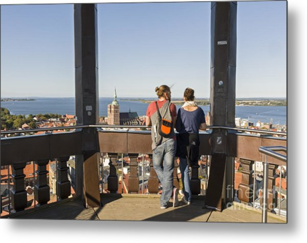 Stralsund From St Marys Church Germany Metal Print by David Davies