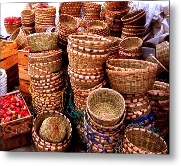 Straw Baskets Metal Print