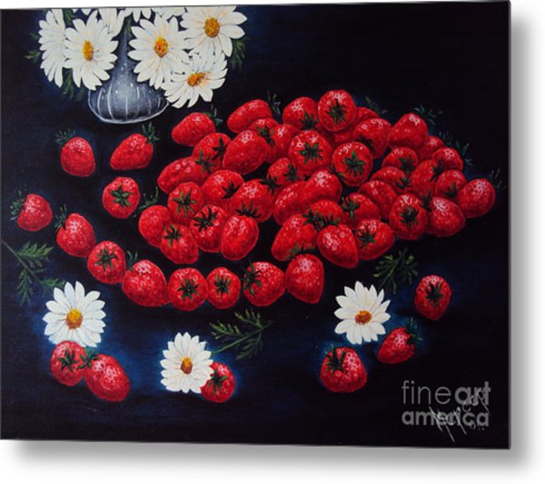 Strawberries And Daisies Original Painting Oil On Canvas Metal Print by Drinka Mercep