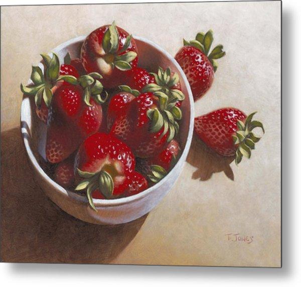 Strawberries In China Dish Metal Print by Timothy Jones